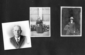 A page from an old photo album with three black and white photos of people.