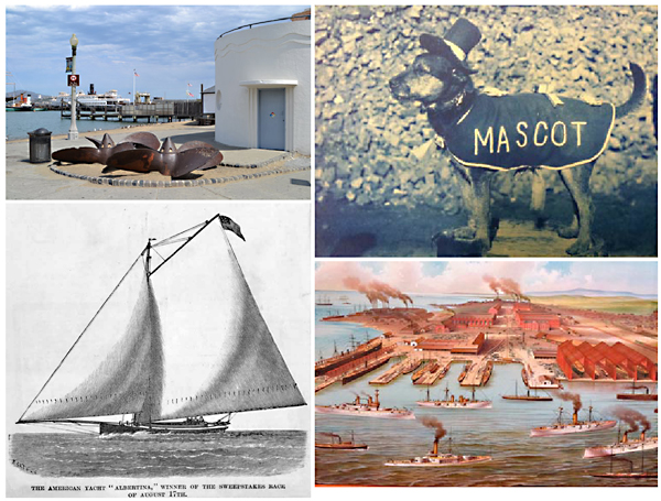 A four-picture collage showing a beach, sailboat, dog and a shipyard.