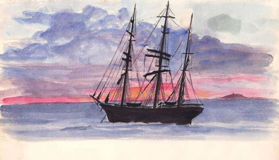 This watercolor painting by John Milton Ramm is a port side view of the bark Lina anchored at Accra, Ghana with a dusk-filled horizon behind it. SAFR 13852.