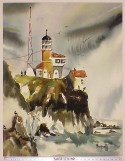 Watercolor painting of the lighthouse on the bluff with people around it and birds on rocks in the foreground (SAFR 11370)