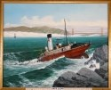 Full color painting of the ship on rocks, in the surf, with the Golden Gate Bridge in the background