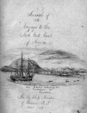 Drawing of the ship receiving passengers in the harbor in Panama with handwritten text