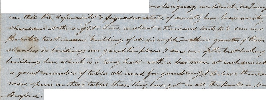 HDC0079 (SAFR 14287): From page 1 of a personal letter, written by Humphrey Anthony to his wife on 14 March 1850 from San Francisco, Calif.