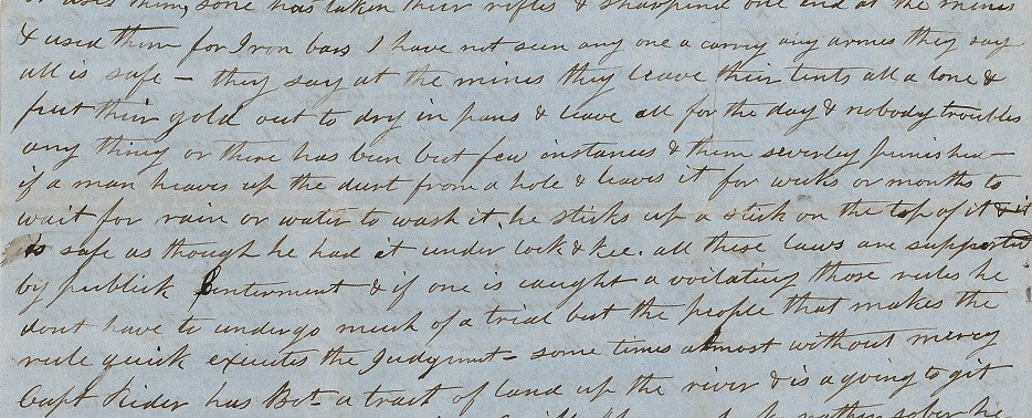 HDC0079 (SAFR 14021): From page 4 of a personal letter, written by Humphrey Anthony to his wife on 31 March 1850 from San Francisco