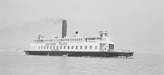 A ferryboat from the 1920s steaming on San Francisco Bay.