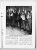Black and white drawing of crew of the SS Buckman lined up with hands raised