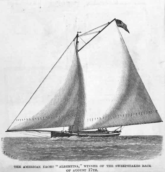 An engraving of a small sailboat with huge sails.