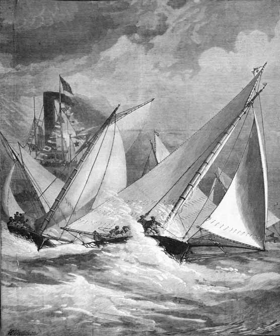 An engraving from the 1800s depicting several sailboats racing.