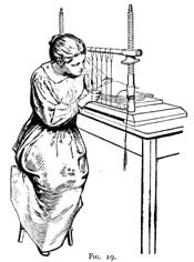 Woman sewing text block on a sewing frame