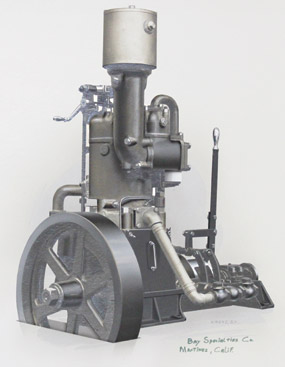 An illustration of a single-cylinder Hicks engine.
