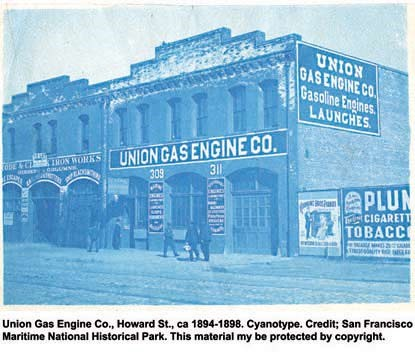 The exterior of the Union Gas Engine Company office building on Howard Street in San Francisco in the 1890s.