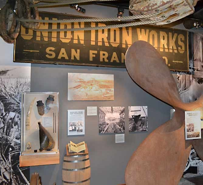 A section of an exhibit in the park's visitor center about shipbuilding.