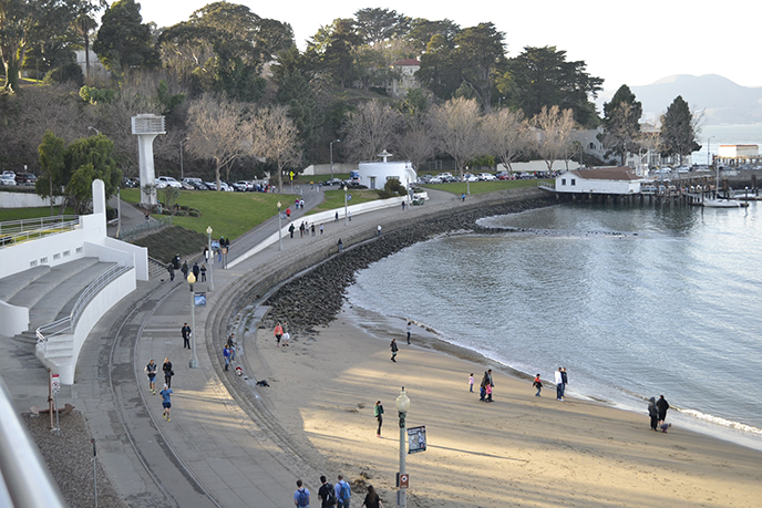 A view of a walkway and section of beach in Aquatic Park.