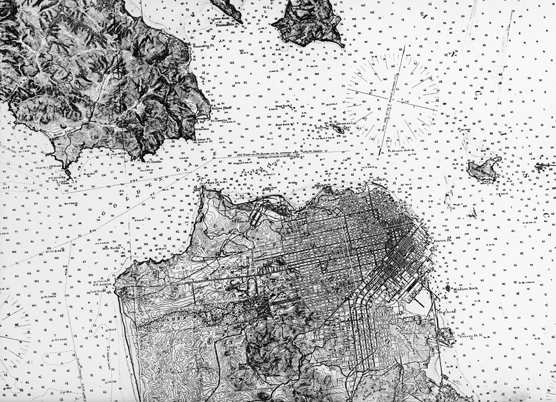 A map of San Francisco Bay published in 1883.