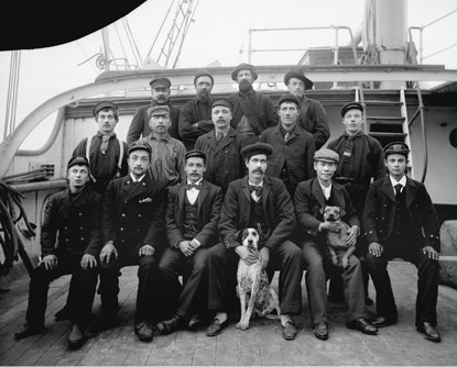 A portrait of the crew of a sailing ship.