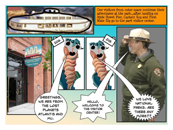 A comic about visitors from space to the Hyde Street Pier and the park visitor center.