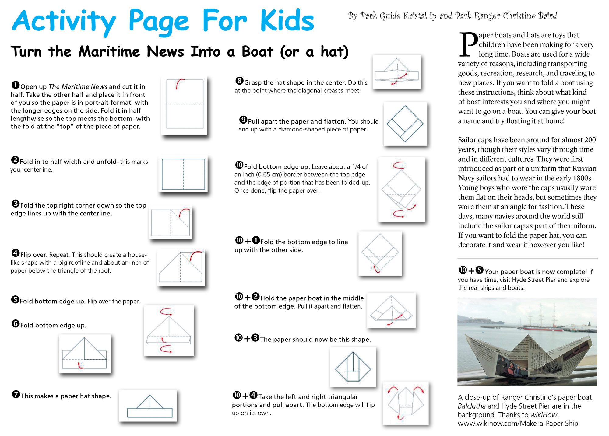 Directions for folding a paper boat.