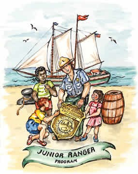 A colorful illustration of a park ranger and children with a sailboat in the background.