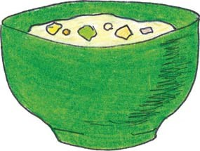 A drawing of a green bowl of chowder.