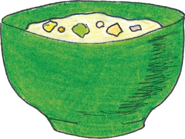 A drawing of a green bowl with clam chowder in it.