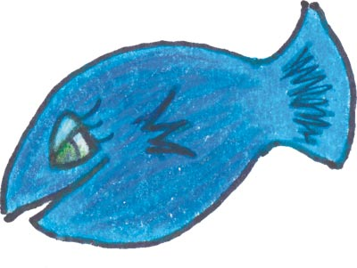 A drawing of a blue fish.
