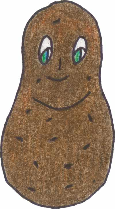A drawing of a brown, cute potato with green eyes.