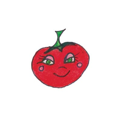 A drawing of a red tomatoe with eyes and eyelashes.