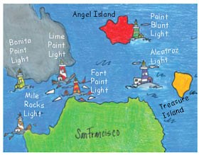 A colorful, hand-drawn map of SF Bay and lighthouses.