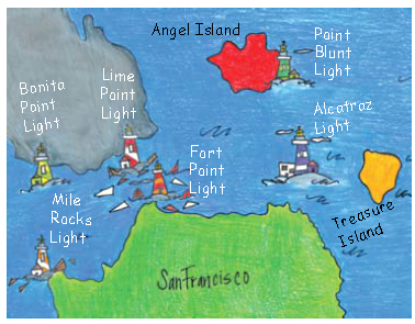 A colorful, hand-drawn map of SF Bay showing some lighthouses.