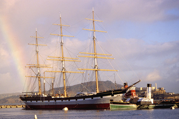 Balclutha and a rainbow at Hyde Street Pier.