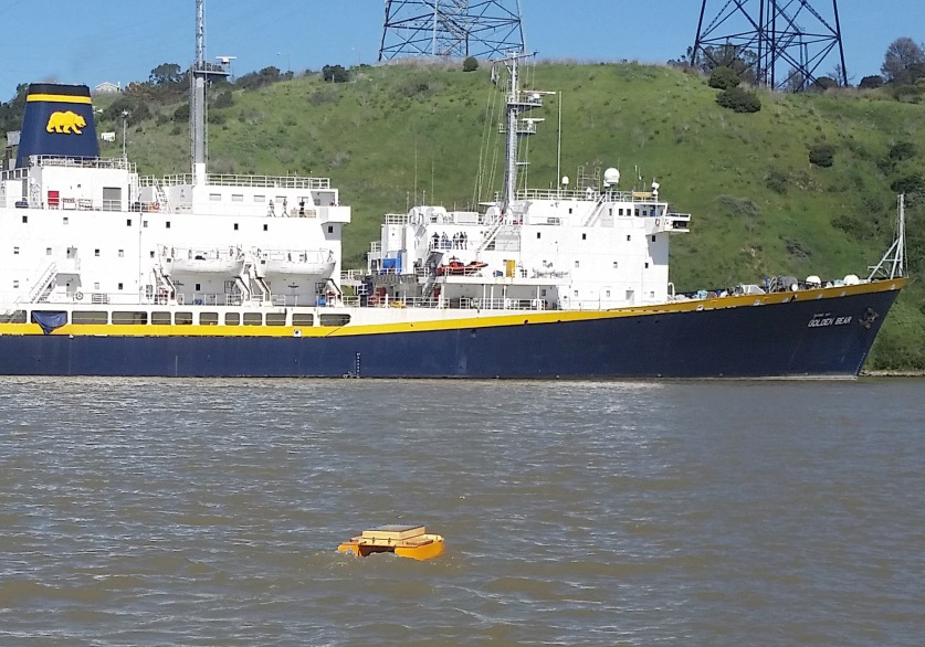 Photo of Dumbo, a small autonomous vessel used to take scientific measurements
