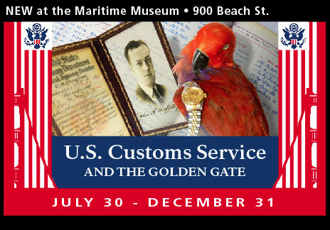 A collage of images with a red border including a parrot, watch, framed photo, and the words, US Customs Service and the Golden Gate.