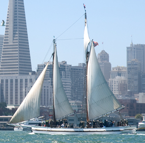 Scow schooner ALMA sailing on SF Bay.