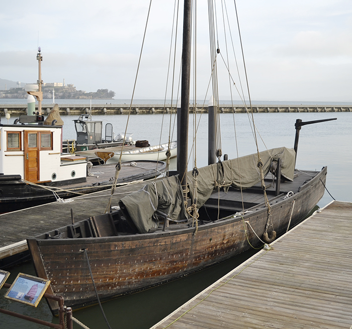 A wooden replica of a boat used by Chinese fisherman to catch shrimp in San Francisco Bay.