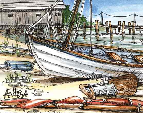Color illustration of a small rowing boat on a beach.