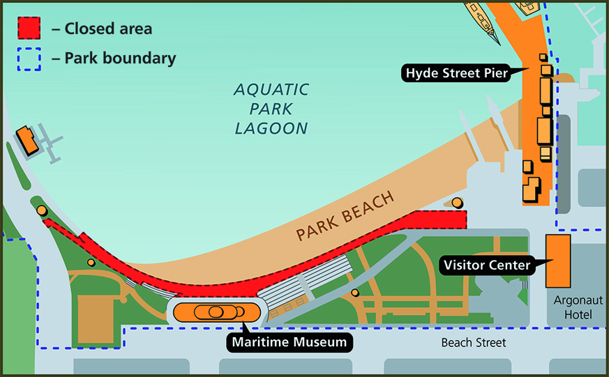 Map showing the area of promenade closure.