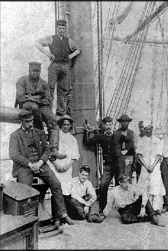 Some members of the crew that sailed on the square-rigged ship, the Rathdown.