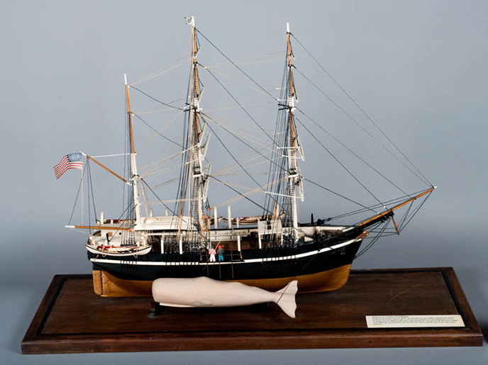 A model of a whaling boat with a sperm whale attached to the starboard side.