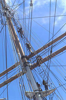 A section of the upper rigging of a 19th century sailing ship.