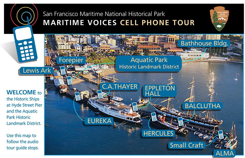 Guide by Cell Audio Tour on Hyde Street Pier Map