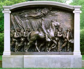 The Shaw Memorial by sculptor Augustus Saint-Gaudens