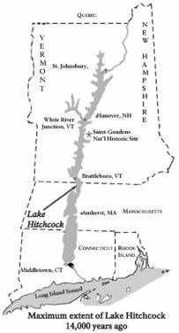 Map of Lake Hitchcock, a huge lake covering what is now the Connecticut River. It was fed by water from melting glaciers.