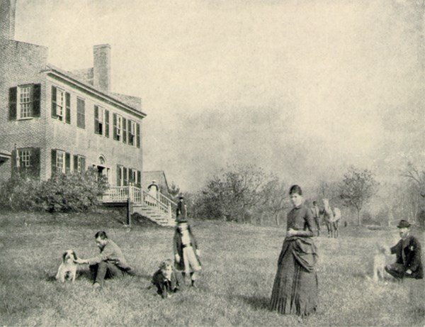 Augusta and Augustus Saint-Gaudens on the lawn in the summer 1885