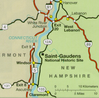 Map of the location of Saint-Gaudens National Historic Site