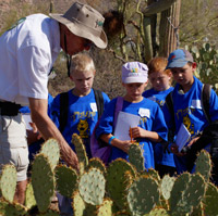 An adult shows children something on a prickly pear cactus.