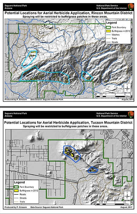 possible areas of both districts scheduled for aerial treatment of buffelgrass