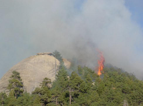 Wildfire near Helen's Dome.
