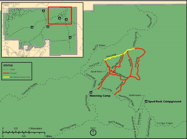 Map of trails to be closed during the Mica prescribed fire