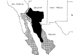 Line map of lower California, Arizona, and New Mexico and northern Mexico with cross hatching and solid black areas.