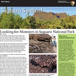 "Small photo of a newspaper named ""Saguaro Sentinel"" with headline reading ""Looking for Monsters in Saguaro National Park."""